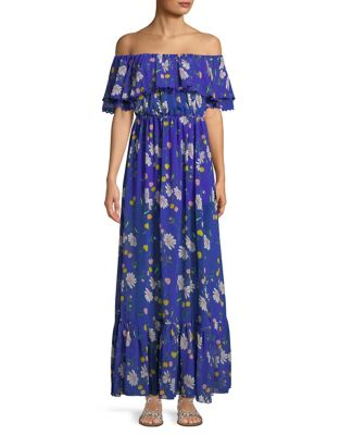 select for latest top fashion great quality Blair Floral-Print Bardot Maxi Dress