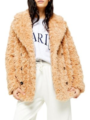 exquisite style really comfortable best selling TOPSHOP - Harry Faux Fur Teddy Coat - thebay.com