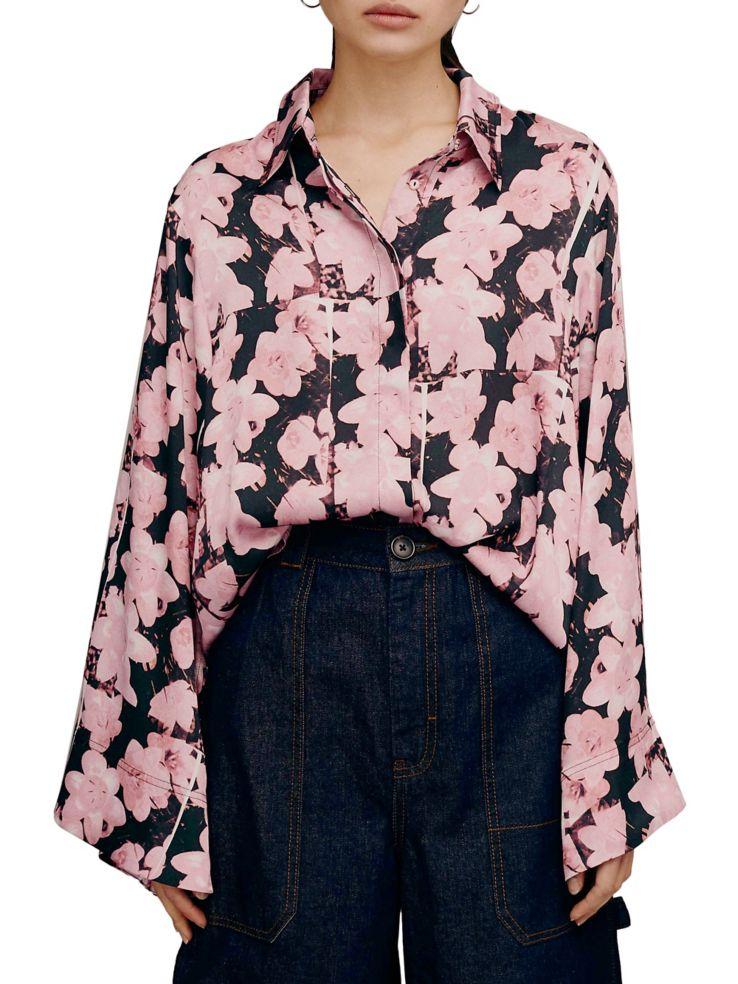 fb828f77c67 TOPSHOP - Buttercup-Print Wide-Sleeve Shirt - thebay.com