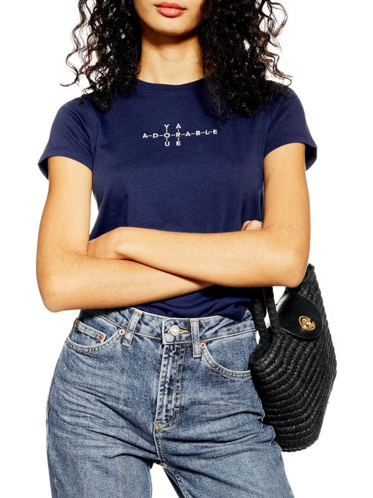 Topshop T Shirt Avec Mots Croisés Adorable Labaiecom