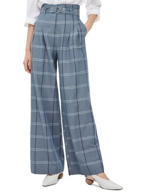 f5b6f2519b TOPSHOP - High-Waisted Checked Wide Leg Trousers - thebay.com