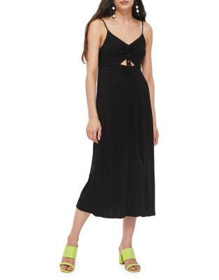 Ruch Front Midi Slip Dress by Topshop