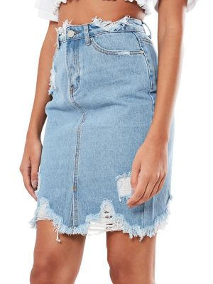 19dd8b6814 Distressed Denim Skirt BLUE. QUICK VIEW. Product image