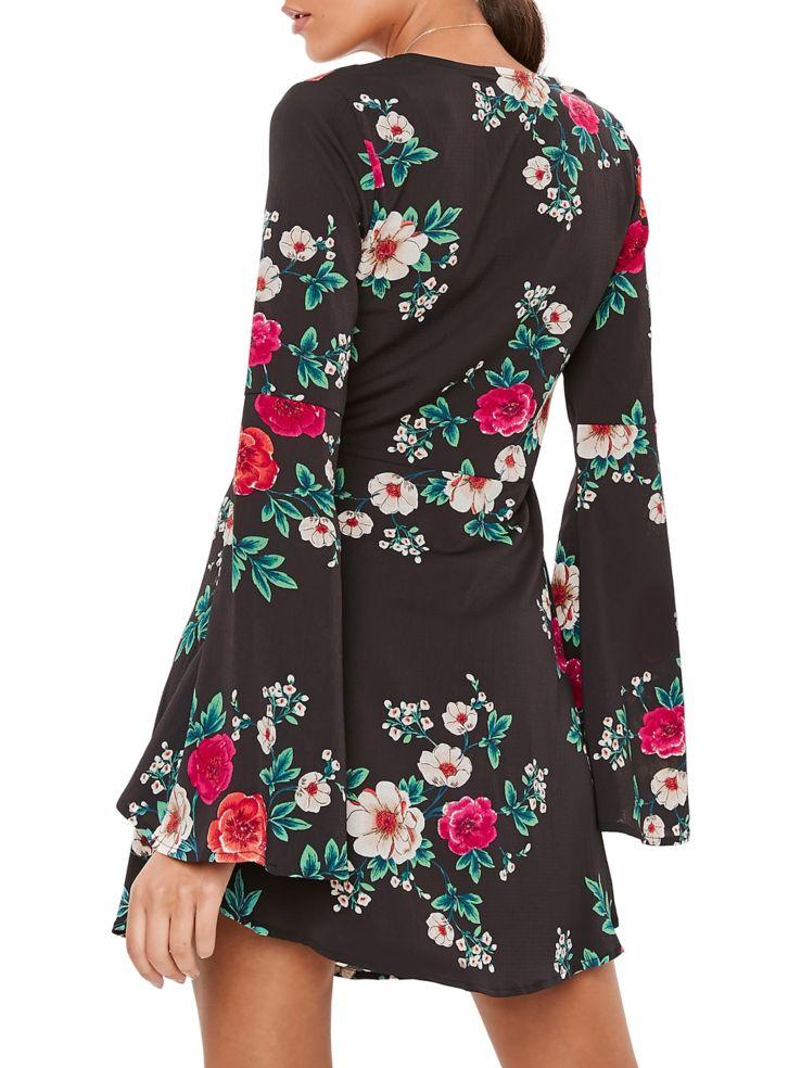 b5823862fc46 Missguided - Floral-Print Skater Fit- -Flare Dress - thebay.com