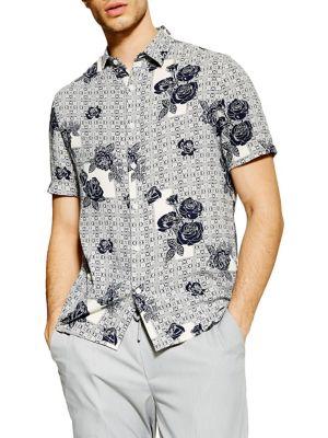 5e28cfdae02 QUICK VIEW. TOPMAN. Rose Tile Print Slim-Fit Shirt