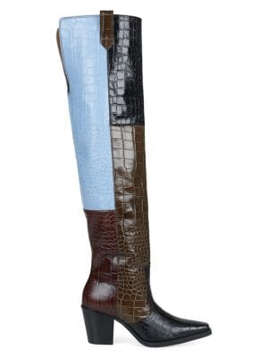 2c7dd0b8fd0 QUICK VIEW. GANNI. Nadia Colourblock Embossed Leather Over-The-Knee Boots