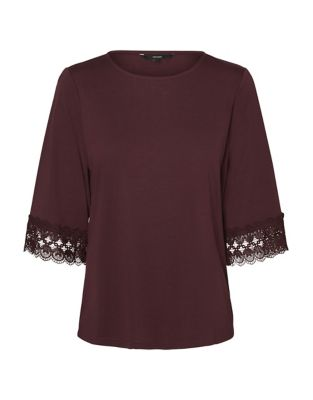 Poppy Three Quarter Lace Top by Vero Moda