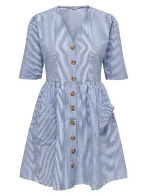 24550057310 QUICK VIEW. ONLY. Striped Cotton Button-Down Fit- -Flare Dress
