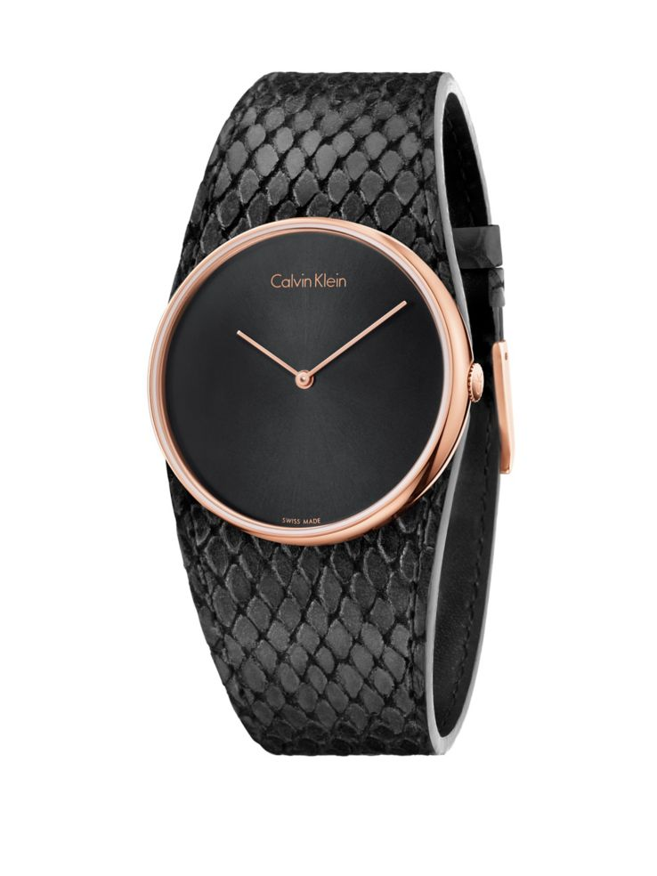 Calvin Klein - Spellbound Rose Gold   Black Leather Strap Watch ... 217bde6d5a7