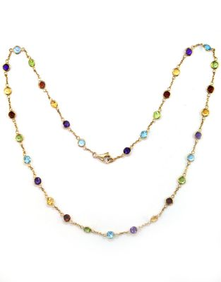 f2f4e5737be5c Product image. QUICK VIEW. Effy. 14 Kt Yellow Gold Multi Colour Station  Necklace.  1