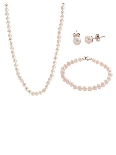 """7-8 mm blanc d/'eau douce collier de perles 18/"""" Boucle D/'Oreille Set"""
