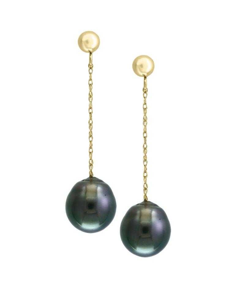 Effy Pearl 14k Yellow Gold Black Tahitian Earrings