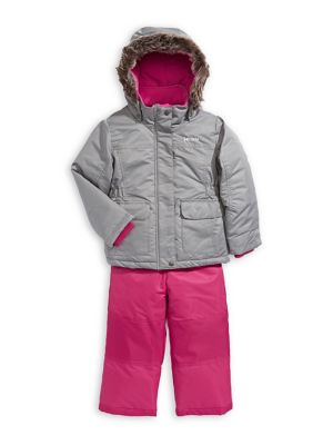 Little Girls Snowsuit Faux Fur-Hood Parka & Jumpsuit Set (Kids) photo