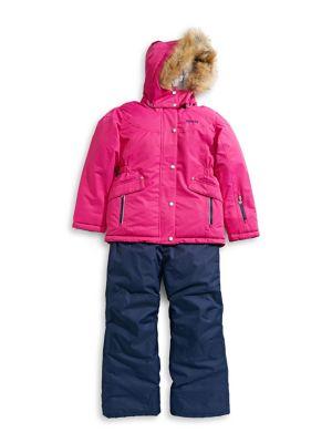 Girl's Five-Piece Faux Fur-Trimmed Hood Snowsuits (Kids) photo