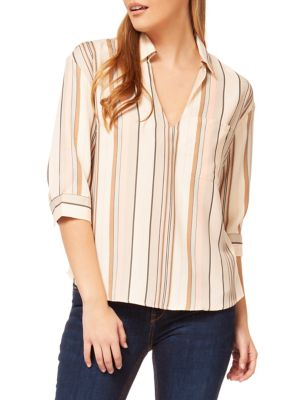 80126394f4f355 Stripe Quarter-Sleeve Shirt White. QUICK VIEW. Product image