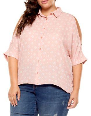 ace4ad5b842 Product image. QUICK VIEW. Dex. Plus Printed Cold-Shoulder Button-Down Shirt
