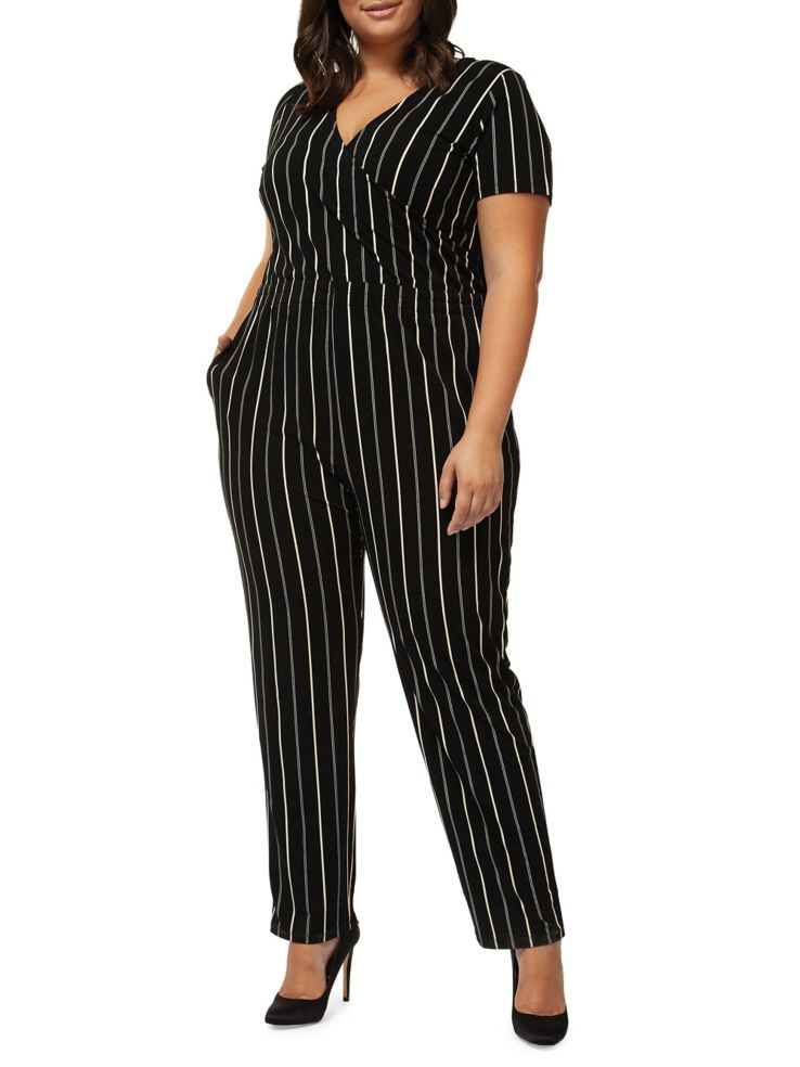 d5dc565a93a5 Dex - Plus Striped Short-Sleeve Jumpsuit - thebay.com