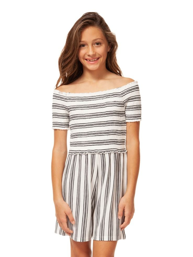 9ff7e44f853f Dex - Girl s Striped Off-The-Shoulder Romper - thebay.com