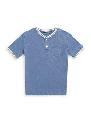 e7a7e16d6 Boy's Short Sleeve Tape Henley 70188-BLUE. QUICK VIEW. Product image