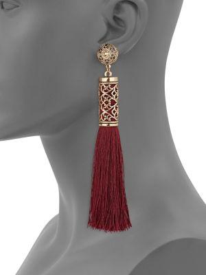 Textured Tassel Earrings by Etereo