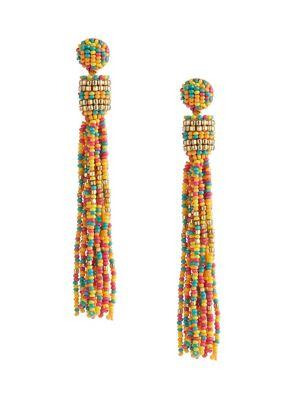 d760b6a6e Colour Beaded Tassel Linear Earrings