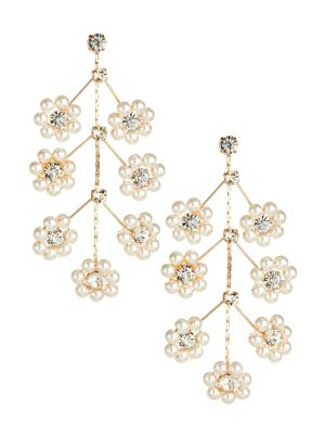4afbce0d5 Faux Pearl Flower Chandelier Earrings