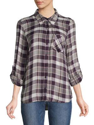 215f013c QUICK VIEW. Style & Co. Plaid High-Low Button-Down Shirt. $69.00 Now $20.70  · Plaid Cotton Twill Full-Zip Long-Sleeve Shirt Red