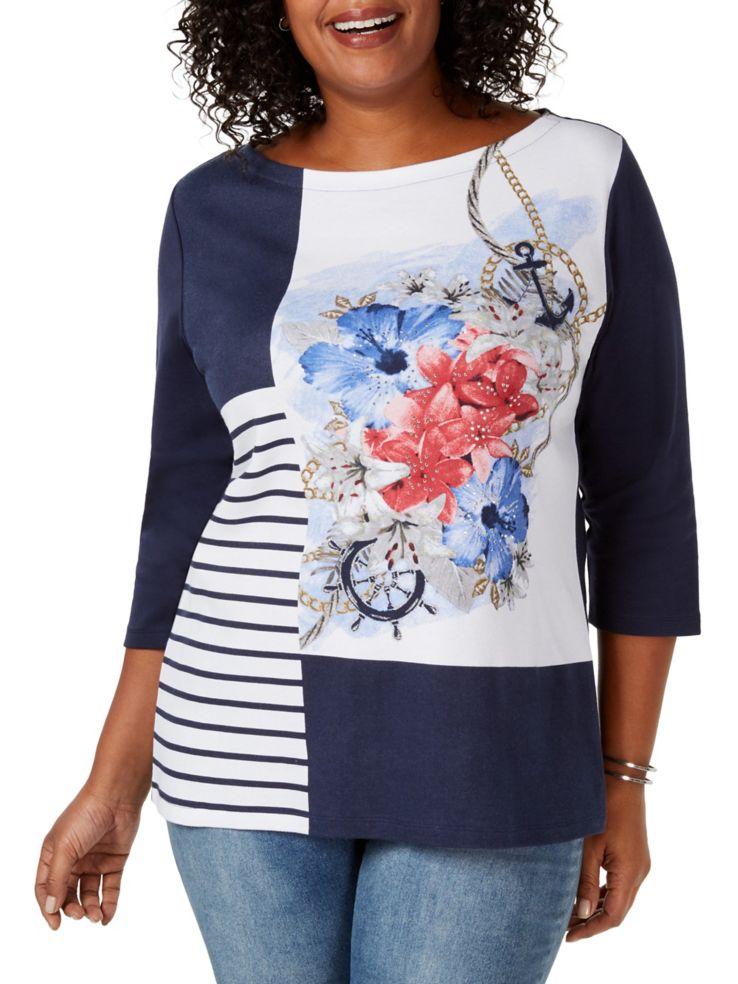 b7f0ba85f6b Karen Scott - Plus Embellished Floral-Print Top - thebay.com