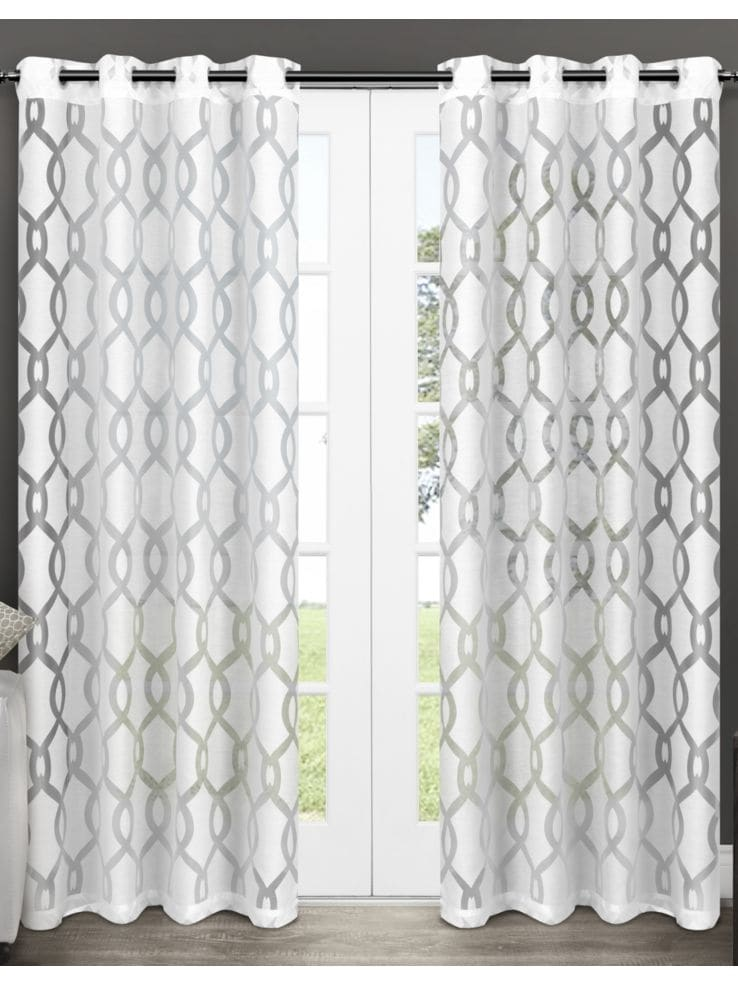 Set Of Two 96In Exclusive Home Rio Sheer Grommet Top Curtain Panels
