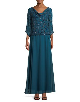 528356e2ba9 QUICK VIEW. J Kara. Cowl Neck Geobead Gown