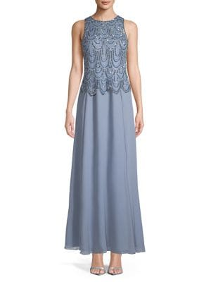36f3a5ea767 QUICK VIEW. J Kara. Sleeveless Scallop Beaded Gown