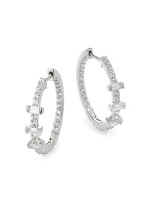 a790af54f Mercer Silvertone & Crystal Baguette Huggie Hoop Earrings SILVER. QUICK  VIEW. Product image