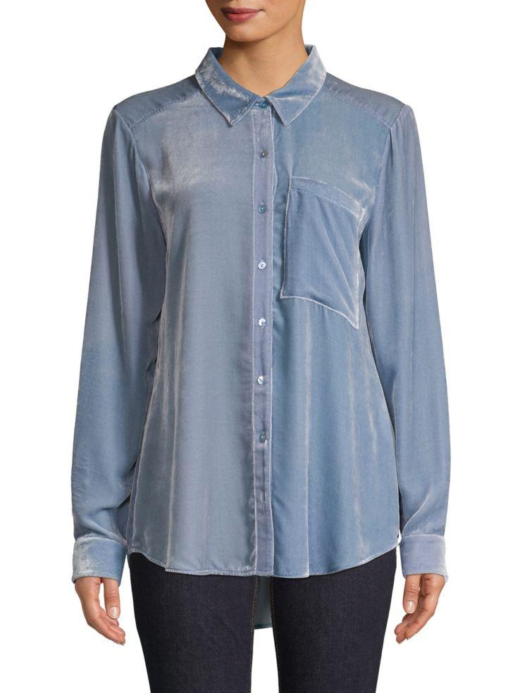 82908aeb7a8f5 Eileen Fisher - Velvet Button-Down Shirt - thebay.com