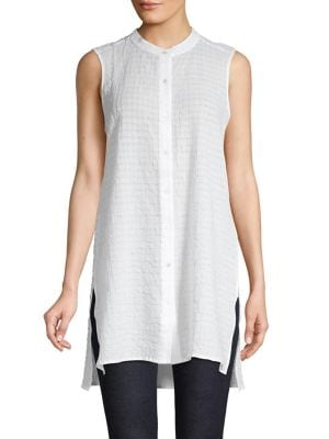 317e83b9 QUICK VIEW. Eileen Fisher. Mandarin Collar Button-Down Tunic