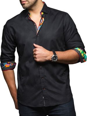 Voyager Mens Button Down Short Sleeve Flyer Shirt Black Large