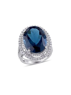 b9e812e19 0.93 TCW Diamond, Blue Topaz and 14K White Gold Double Halo Ring
