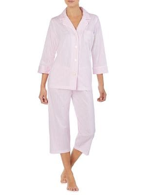 c50989a01e92 Product image. QUICK VIEW. Lauren Ralph Lauren. Two-Piece Stripe Cotton  Pyjama