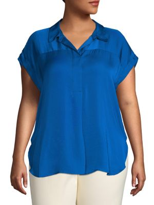 edcf5789 Product image. QUICK VIEW. Vince Camuto. Plus Short Sleeve Popover Shirt