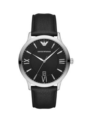 32c05da7b8f60 QUICK VIEW. Emporio Armani. Giovanni Black Leather Strap Watch