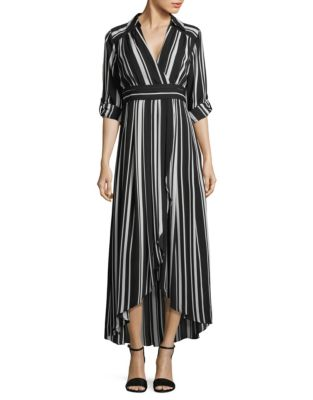 6a879df19d Striped Faux Wrap Maxi Dress BLACK. QUICK VIEW. Product image