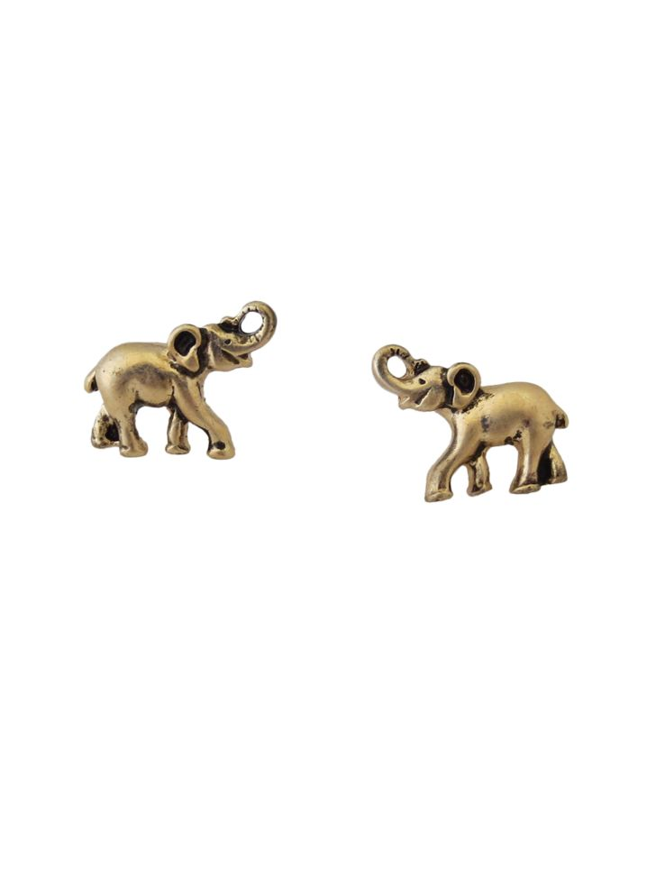 Silvertone Elephant Stud Earrings