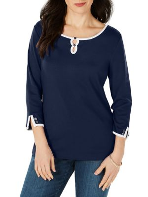 346d99489aacd QUICK VIEW. Karen Scott. Plus Contrast-Trimmed Cotton Top