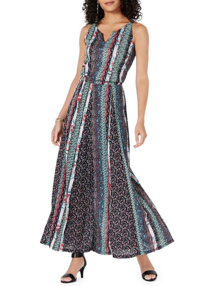 4479c8263c Style   Co. - Petite Floral Print Split Neck Sleeveless Maxi Dress ...