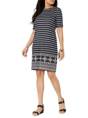 19aa8a3a3d9f Product image. QUICK VIEW. Karen Scott. Petite Printed Shift Dress