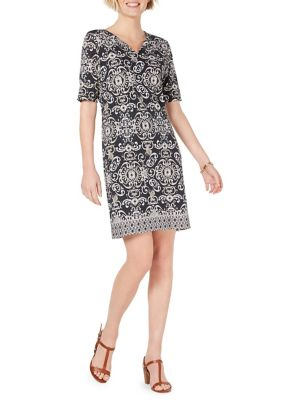 eb1e5a9f1edd QUICK VIEW. Karen Scott. Printed Elbow-Sleeve Shift Dress