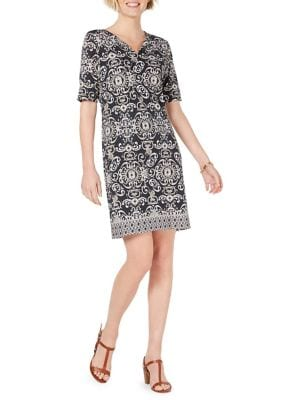 1a63e169ea4c4 Printed Elbow-Sleeve Shift Dress BLACK. QUICK VIEW. Product image