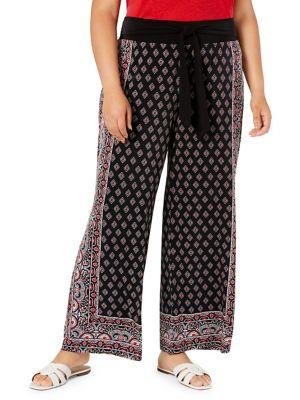 562a1aea QUICK VIEW. I.N.C International Concepts. Plus Border-Print Tie-Waist Pants