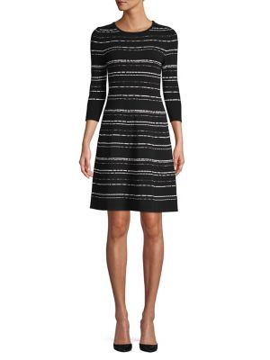 88406184474 QUICK VIEW. HUGO. Striped Embroidered Fit   Flare Dress