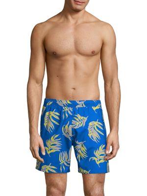 f4d7f7b866456 Leaf-Print Swim Shorts BLUE. QUICK VIEW. Product image