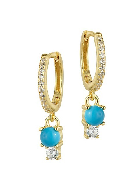 LUNA JAMES Duo-Stone Huggie Earrings